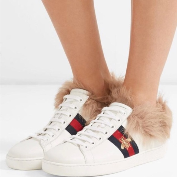 Gucci Ace Sneakers With Lamb Fur